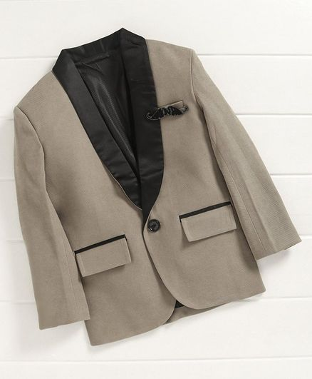 Dapper Dudes Solid Lapel Collar Full Sleeves Blazer - Grey