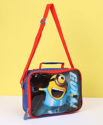 Boys Minion Face Dual Compartment Insulated Lunch Bag Blue Orange