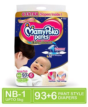 MamyPoko Extra Absorb Pant Style Diapers New Born - 99 Pieces