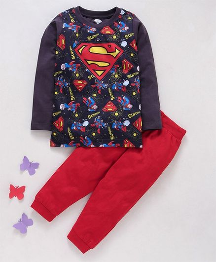 Eteenz Full Sleeves T-Shirt & Lounge Pant Set Superman Print - Grey Red