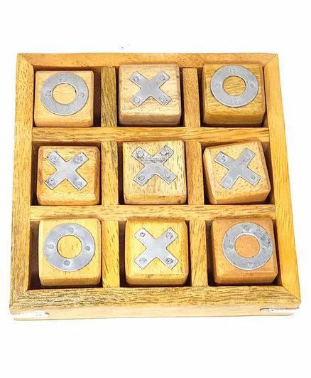 Desi Karigar Noughts and Crosses Game Brass Wooden Tic Tac Toe Game - Yellow