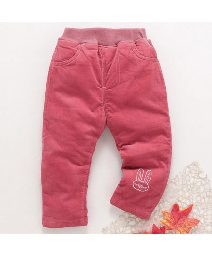 Kookie Kids Full Length Corduroy Pants Bunny Embroidery - Pink
