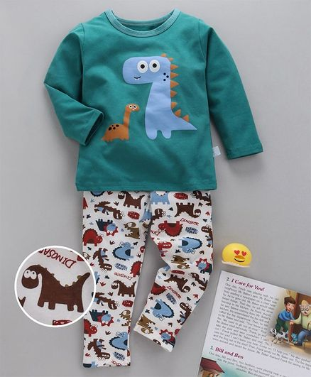 Kookie Kids Full Sleeves Night Suit Dino Print - Green