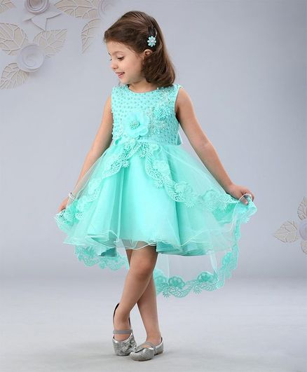 Mark & Mia Sleeveless Floral & Pearl Embellished Party Frock - Aqua Green
