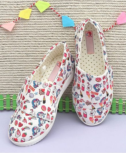 eed44a2a21 Buy Dchica Unicorn & Cupcake Print Velcro Closure Shoes White for Girls  (3-3 Years) Online, Shop at FirstCry.com - 2956875