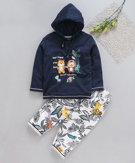 Cucumber Full Sleeves Hooded Sweatshirt And Lounge Pant Animal Print - Navy Blue White