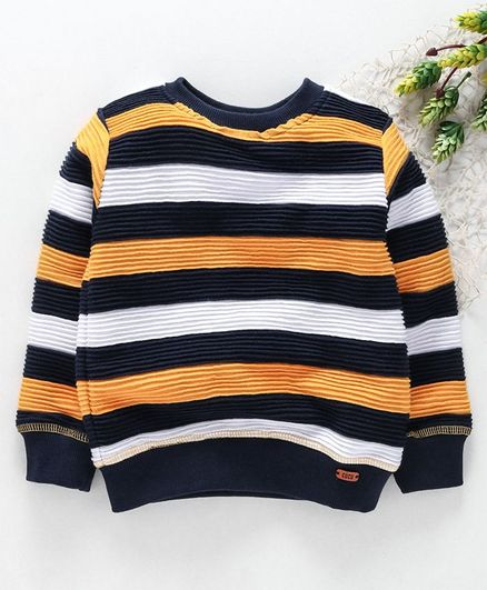 Cucumber Full Sleeves Striped T-Shirt - Yellow