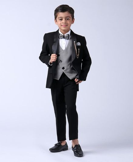 Robo Fry Full Sleeves 4 Piece Party Wear Suit With Bow - Black