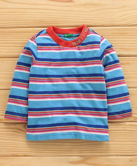 UCB Full Sleeves Striped Tee - Blue