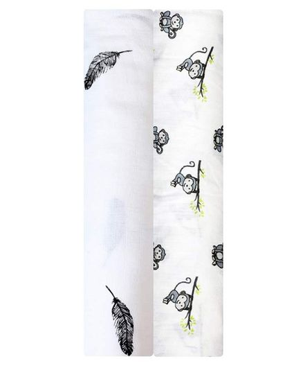 Mom's Home Cotton Muslin Swaddle Wrap Leaf and Monkey Print Pack of 2 - Grey