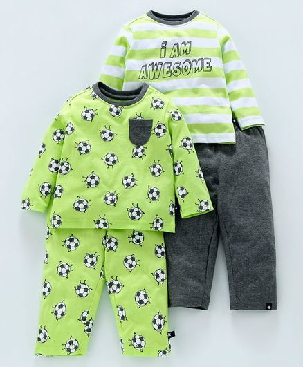 Babyoye Full Sleeves Cotton Night Wear Combo Set Football Print - Green