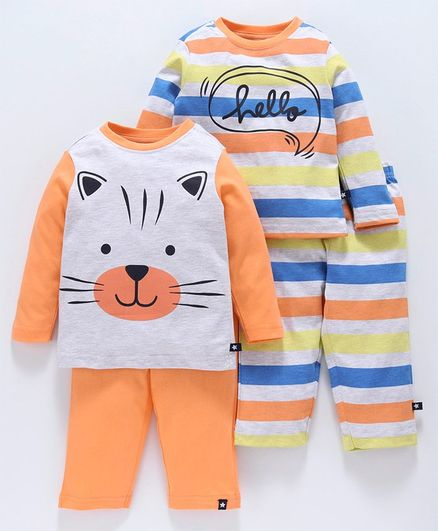 Babyoye Full Sleeves Striped & Printed Cotton Night Wear Combo Set - Orange