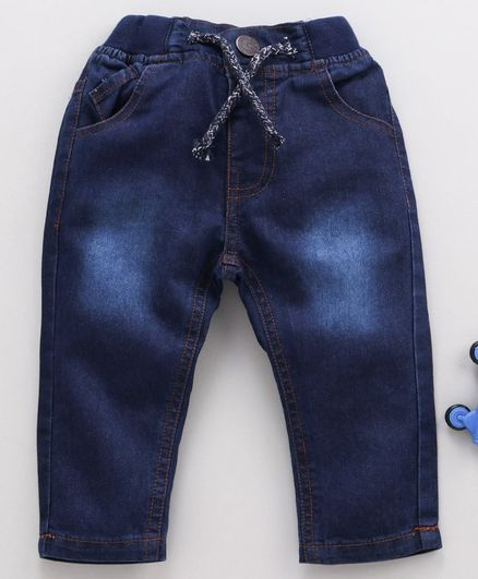 Cucumber Full Length Jeans With Drawstring - Dark Blue
