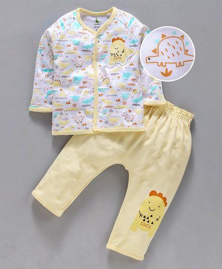 Cucumber Full Sleeves Night Suit Dino Patch - White Yellow