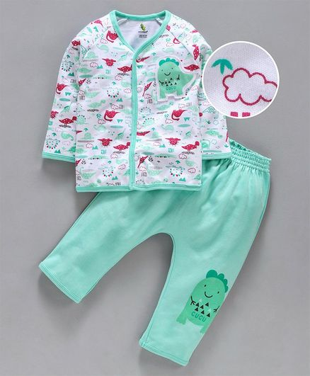 Cucumber Full Sleeves Night Suit Dino Patch - White Light Green