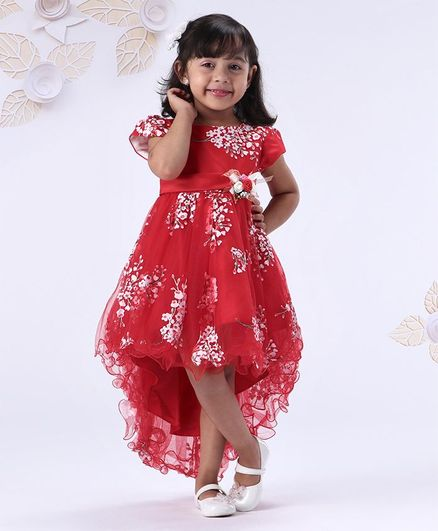 Mark & Mia Short Sleeves Party Wear Frock Floral Print - Red