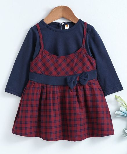 Dew Drops Checked Frock With Full Sleeves Inner Tee - Blue Maroon