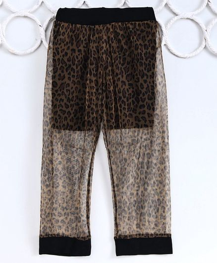 Kookie Kids Full Length Leggings Animal Print - Brown