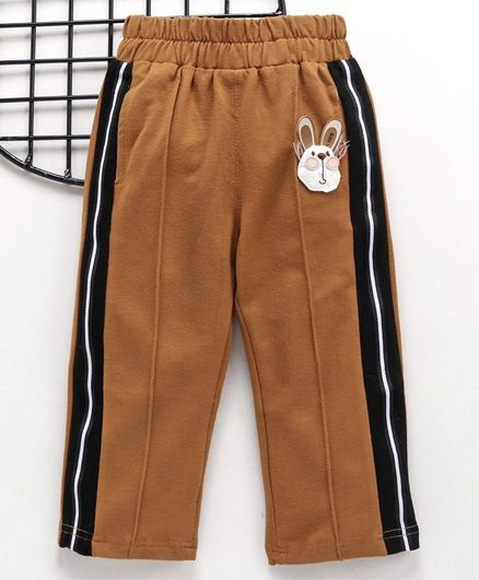 Meng Wa Full Length Track Pant Animal Patch - Brown