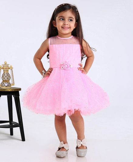 Babyhug Party Wear Sleeveless Frock With Flower Applique - Pink