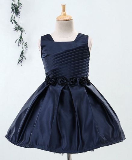 Babyhug Sleeveless Party Wear Pleated Frock Floral Motifs - Navy Blue