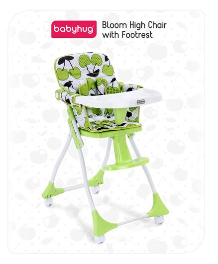 Babyhug Bloom High Chair with Foot Rest - Green