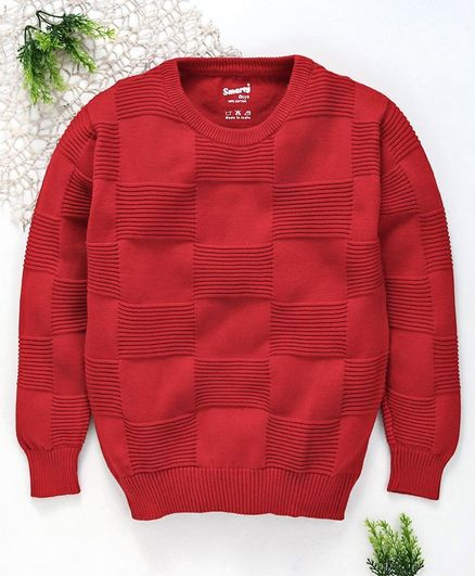 Smarty Full Sleeves Sweater - Red