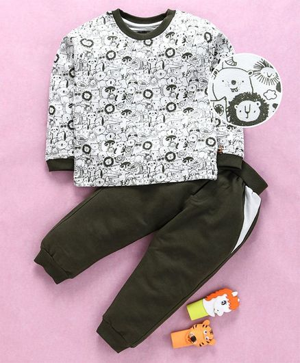 Mini Taurus Full Sleeves Tee & Bottoms Set Animal Print - Olive Green