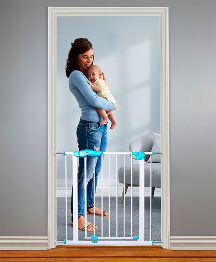 Babyhug Walk Through Safety Gate With Manual Lock - Green