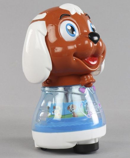 Musical Toy Puppy Shaped Coin Bank- Brown White