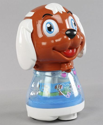 Musical Toy Puppy Shaped Coin Bank - Brown Blue