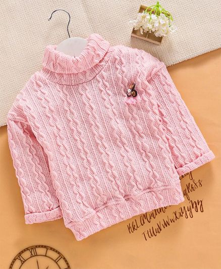 Little Kangaroos Full Sleeves Winter Wear Knitted Solid Top - Pink