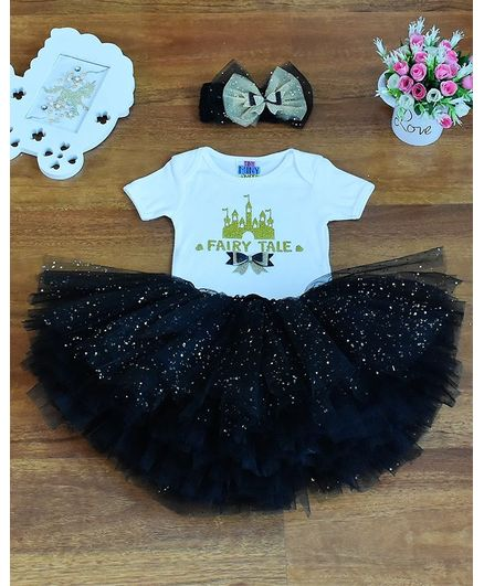 Tiny Miny Mee Fairy Tale Print Half Sleeves Onesie With Skirt - Black & White