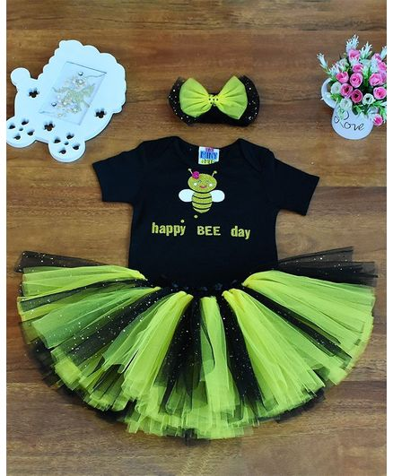 Tiny Miny Mee Bee Print Half Sleeves Onesie With Skirt - Black & Yellow