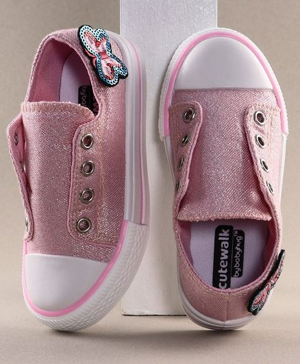 Cute Walk by Babyhug Casual Shoes Butterfly Applique - White Pink