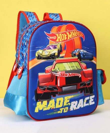 Hot Wheels School Bag Car Print Blue - 14 Inches