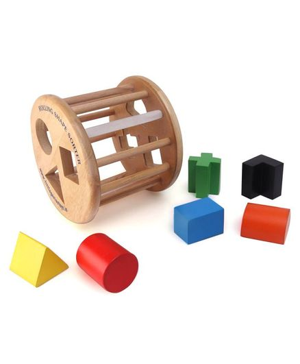 Little Genius Wooden Rolling Shape Sorter - Multi Colour