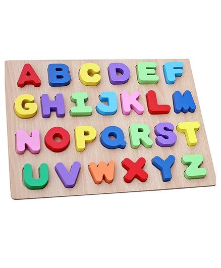 Syga Educational Wooden Capital Alphabets Letter Tray - Multicolor