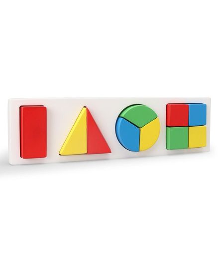 Little Genius Wooden Fraction In Square Board - Multicolor