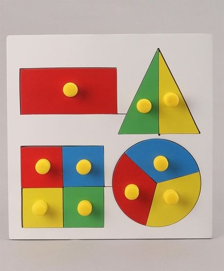 Little Genius Inset Shape Fraction Board with Knob - Multicolor