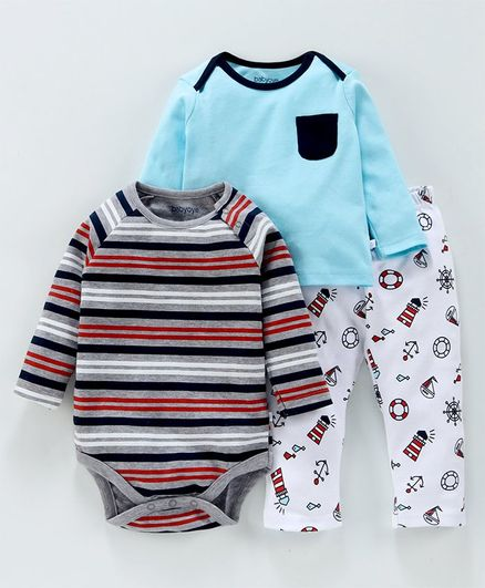 Babyoye 3 Piece Combo Set Stripes & Marine Print - Light Blue Grey