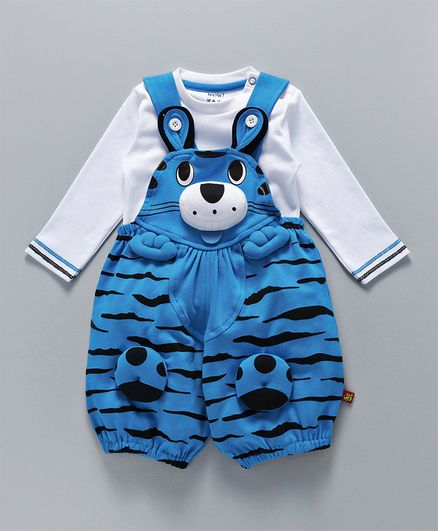 WOW Clothes 3D Tiger Design Dungaree &  T-Shirt - Light Blue