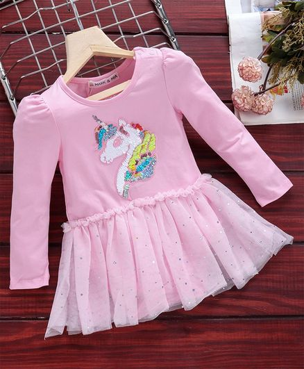 Mark & Mia Full Sleeves Frock Style Onesie Unicorn Sequin Patch - Pink