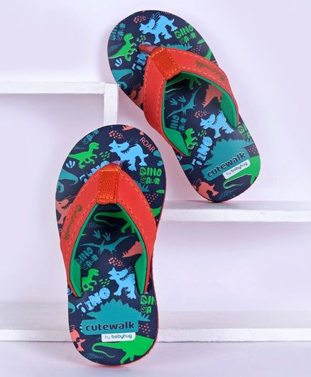 Cute Walk by Babyhug Flip Flops Dino Print - Navy Blue