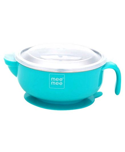 Mee Mee Stay Warm Steel Bowl With Suction Base - Blue