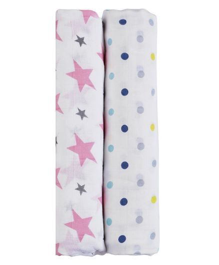 Haus & Kinder Cotton Muslin Swaddle Wrap Dots and Twinkle Print Pack of 2 - Pink