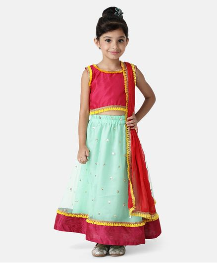 Bownbee Tassel Decorated Sleeveless Choli With Netted Lehenga & Dupatta  - Green & Pink