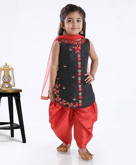 Babyhug Sleeveless Top With Patiala Bottom & Dupatta Set Floral Embroidered - Black