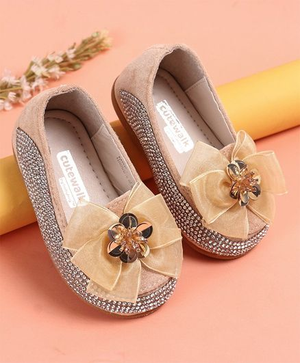 Cute Walk by Babyhug Party Wear Studded Belly Shoes Bow Applique - Cream