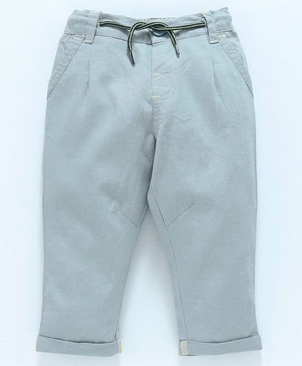 Babyoye Full Length Cotton Trousers With Drawstring - Grey